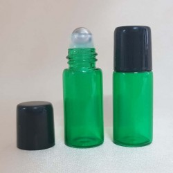 Recipient roll-on din sticlă verde, 3 ml